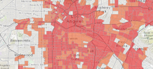 CalEnviroScreen map of the LA area, showing highly impacted neighborhoods like Vernon. Chronic corporate polluter Exide is located in Vernon.